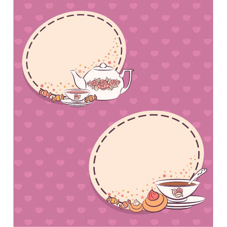 cup cake: Vintage tea set and sweet cakes. Vector Illustration