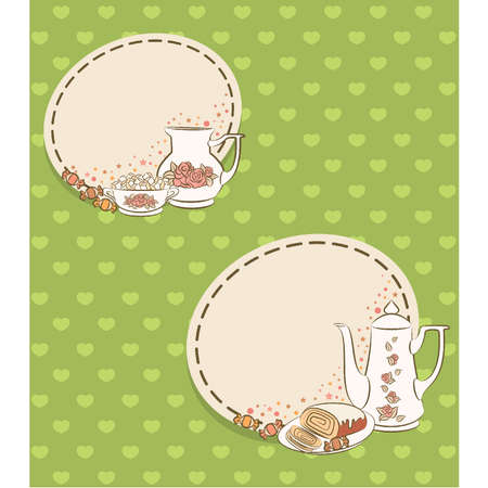 Vintage tea set and sweet cakes. Vector Illustration