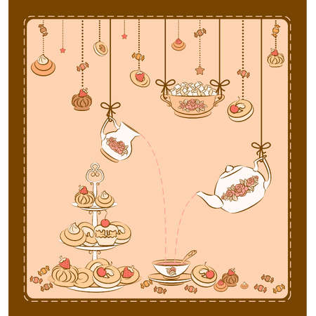 Vintage tea set and sweet cakes. Stock Vector - 10553969
