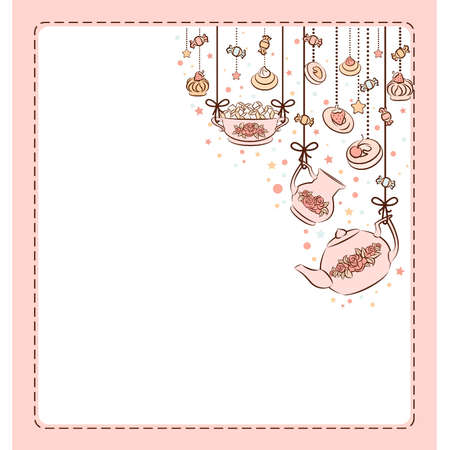 Vintage tea set and sweet cakes.  Stock Vector - 10553962