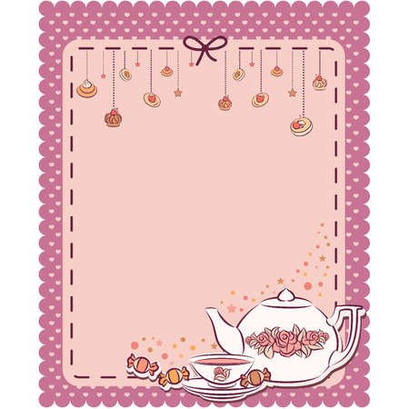 Vintage tea set and sweet cakes.  Stock Vector - 10553941
