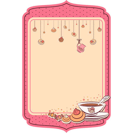 Vintage tea set and sweet cakes.  Stock Vector - 10553920