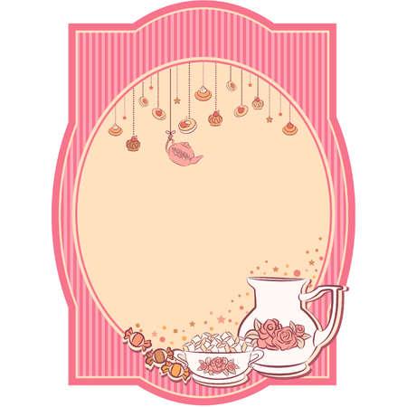 Vintage tea set and sweet cakes.