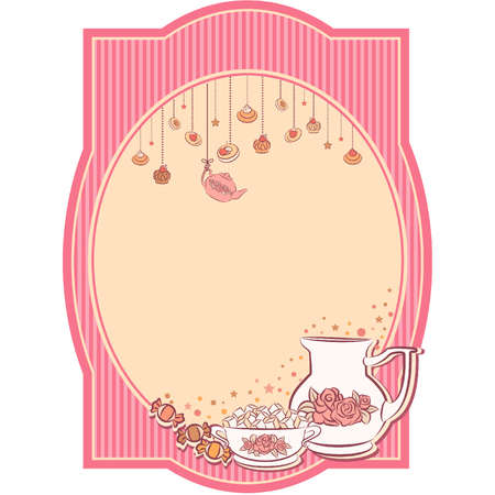 Vintage tea set and sweet cakes. Stock Vector - 10553916