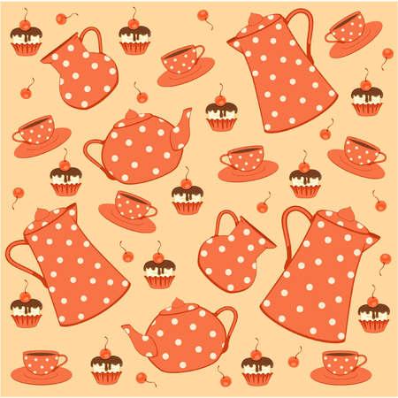 teapot: Vintage tea set and sweet cakes.