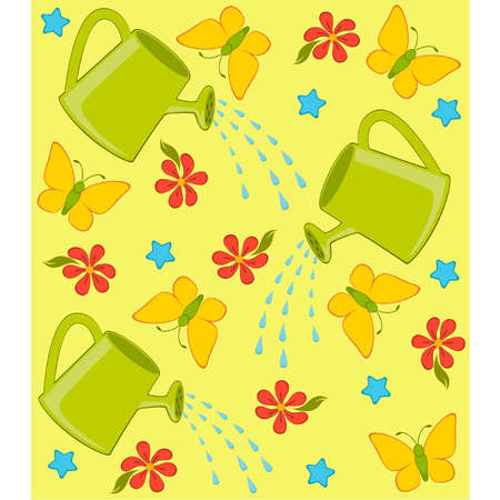 wateringcan: Vector happy background with watering-can, butterfly and flowers