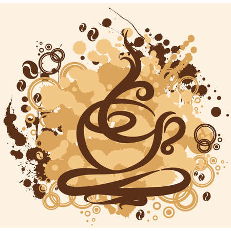 coffee pot: illustration with abstract coffee cup Illustration
