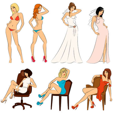 Beautiful bride, doctor, businesswoman and sexy lady. Vector set