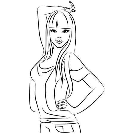body image: Vector beautiful fashionable girl Illustration