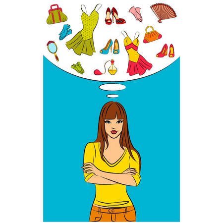 Beautiful girl dream about womanish pieces Vector