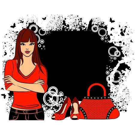 designer bag: Beautiful girl with cartoon woman