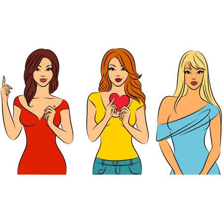 Vector beautiful fashionable girls Illustration