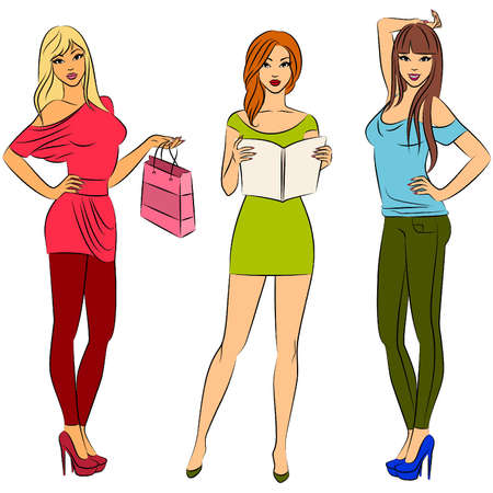 vogue style: Beautiful fashion shopping girls. Illustration