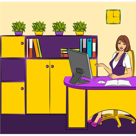 Beautiful business women sits in a chair in office. Vector