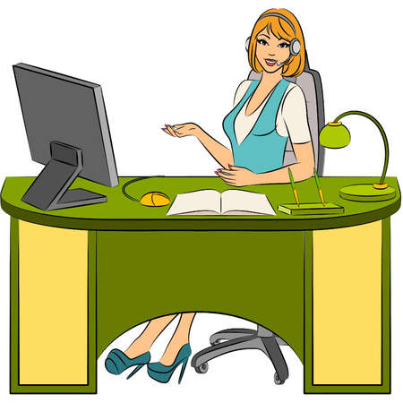 tezgâhtar: Beautiful business women sits in a chair in office. Vector