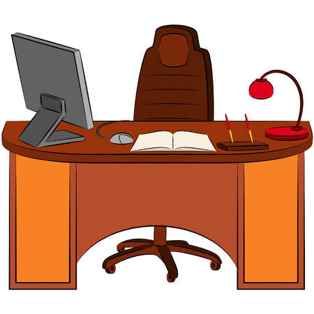 office desk: The modern interior of office for businesspeople. Vector