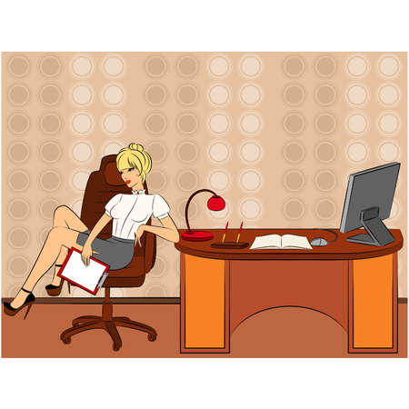 Beautiful business women sits in a chair in office. Vector Vector