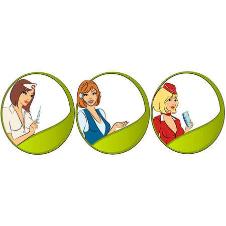 Set of female professionals. Vector Vector
