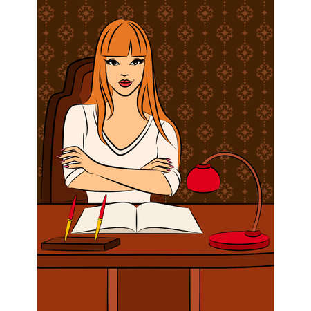 desk clerk: Beautiful business women sits in a chair in office. Vector