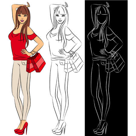 vogue style: Beautiful fashion shopping girls Illustration