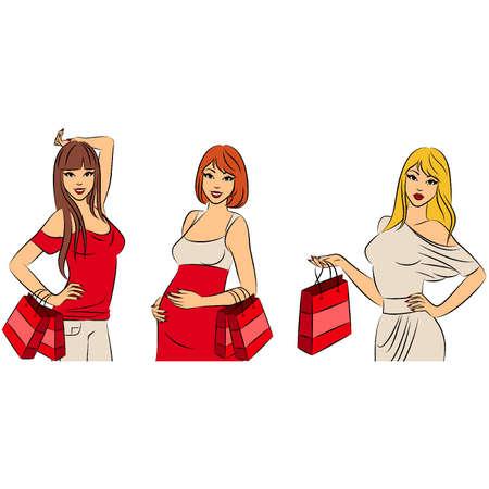 Beautiful fashion shopping girls. Vector set Vector