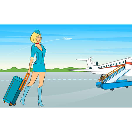 Beautiful stewardess with suitcase. Vector