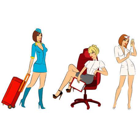 Beautiful stewardess, nurse and businesswoman. Vector