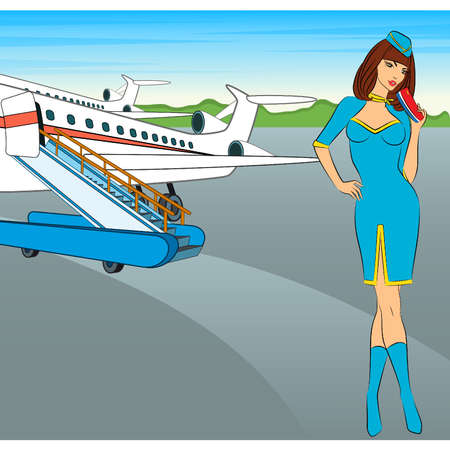 Beautiful stewardess with air ticket. Vector