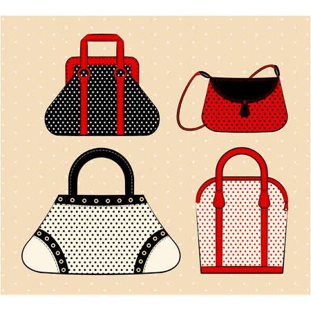 glamour shopping: Cartoon woman bag Illustration