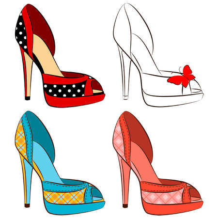 retro wear: beautiful pair of shoes with high heel  Illustration