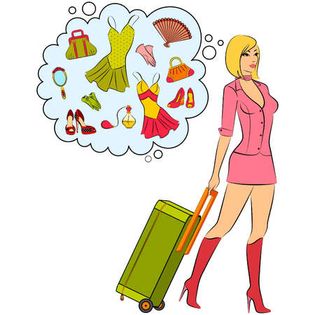 dag: Beautiful girl with suitcase.