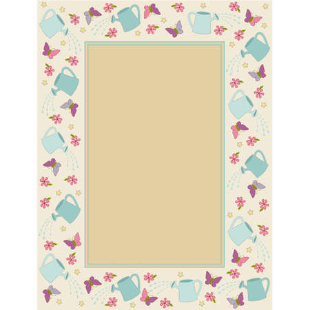 wateringcan: Vintage background with watering-can, butterfly and flowers.  Illustration