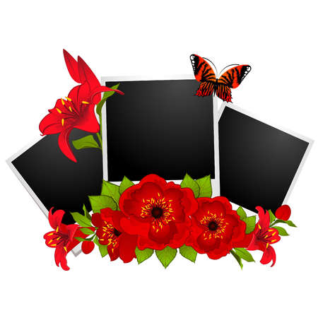 photo frames with flowers Vector