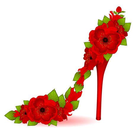 High heel from beautiful flowers. Vector