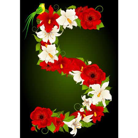 floral five symbol Vector