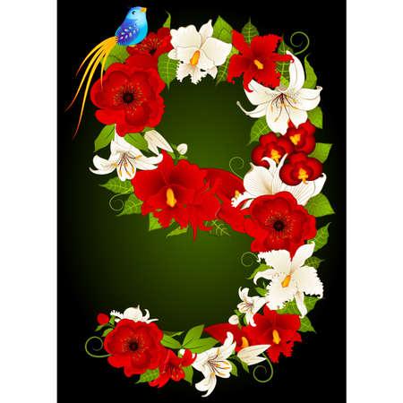 floral nine symbol Vector