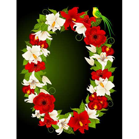 floral zero symbol Vector