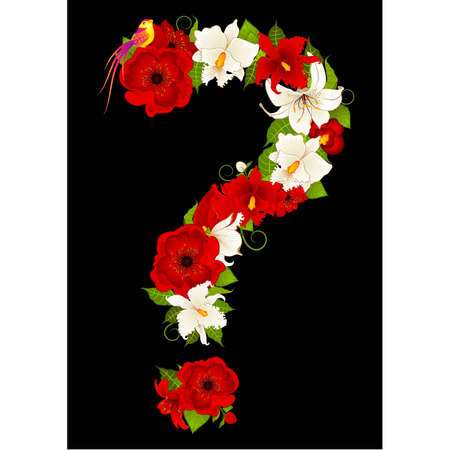 flower font: question-mark from flowers Illustration