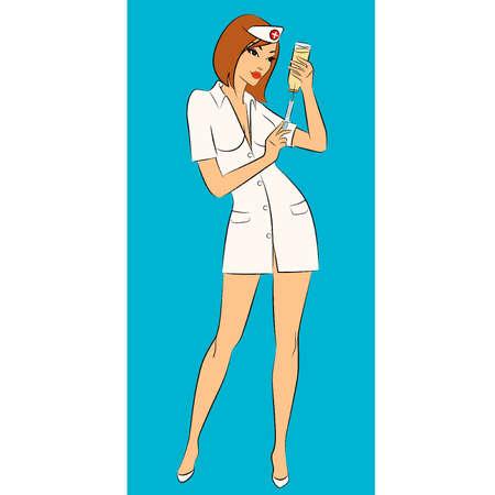 nurse injection: Nurse pronto a fare una iniezione Vettoriali
