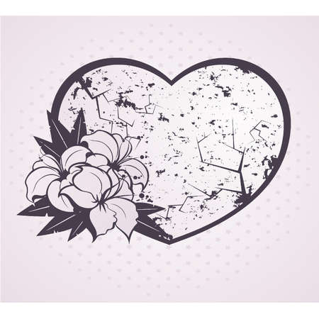 Heart with beautiful flowers Vector
