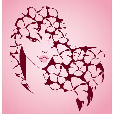red head woman: Beautiful girl with tropical flowers Illustration