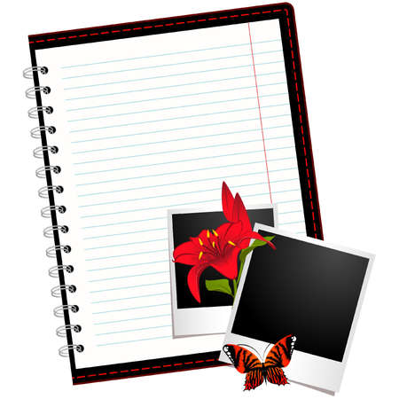 looseleaf: Vector notebook with photo frames with flowers