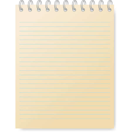 Pages of ruled notebook paper - page curl. Vector Illustration