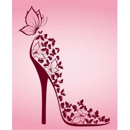 High heel from beautiful butterflies