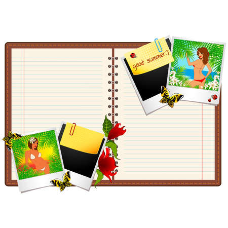 Beautiful girl on a summer beach in photo frames and notepad. Vector Vector