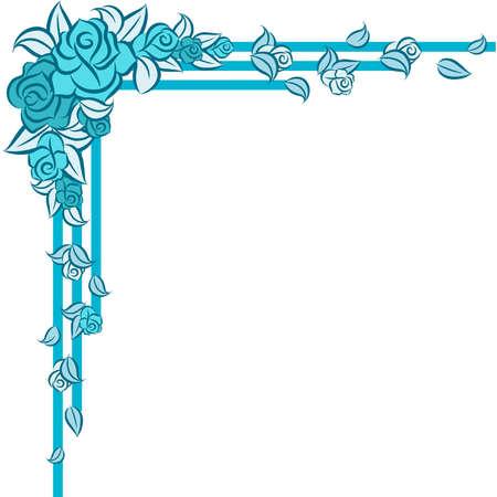 antique nails: Beautiful blue roses. Vector