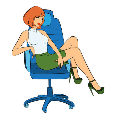 Beautiful business women sits in a chair in office