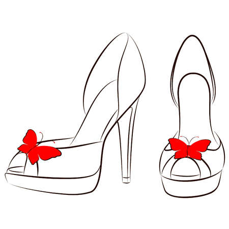 vector beautiful pair of shoes with high heel Ilustração