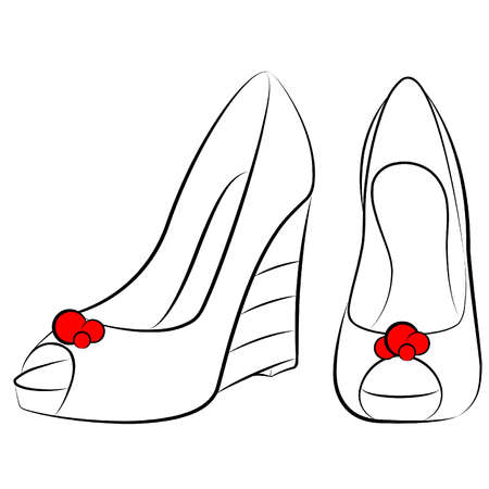 tall woman: vector beautiful pair of shoes with high heel Illustration