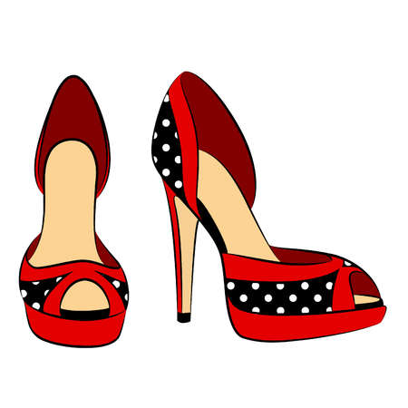 spikes: vector beautiful pair of shoes with high heel Illustration